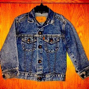Levi's orange tab vintage 1970s kids size 5 trucker denim snap front jean jacket